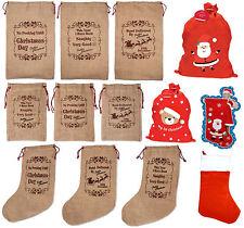 Hessian Felt Christmas Xmas Festive Sack Stocking Wine Bottle Gift Bag Hats