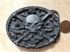 Bergamot belt buckle O-77 Skull Bones Snakes USA 1994 GC. Size ~80x60 mm