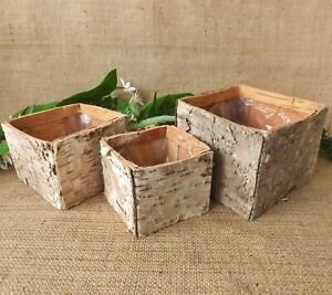Small Square Wooden Bark Pot Lined Container Christmas Wedding Home Decor 3 size