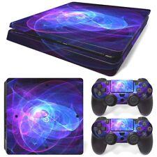 PS4 Slim Skin Console & 2 Controllers Cool Purple Swirl Vinyl Decal Wrap