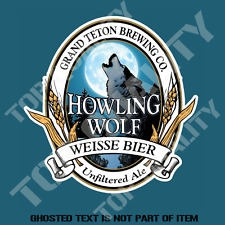 HOWLING WOLF ALE BEER DECAL STICKER FOR BAR FRIDGE COOLER MANCAVE SHED CAR
