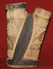 Antique Hand Carving Floral Wood Candle Holder Candelabra
