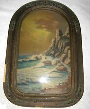 ANTIQUE TOMB STONE CONVEX GLASS PICTURE PHOTO PRINT ART WOOD FRAME OCEAN SEA