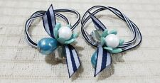 ELASTIC PONYTAIL HOLDER WITH FLOWER CHARM HAIR ACCESSORY BLUE GREEN