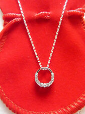 Necklace woman/girl fine round chain circle set pendant sterling silver 925 New