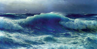 Beautiful Oil painting seascape Atlantic Roll huge ocean waves in oil canvas 36""