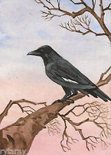5x7 PRINT OF  PAINTING RYTA COLLECTIBLE RAVEN CROW LANDSCAPE ART GOTHIC SUNSET