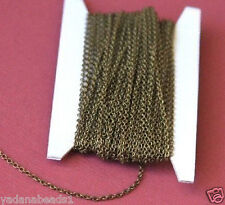 Antiqued Brass round cable chain 2X1.5mm - 32ft Spool