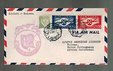 1941 Portugal Lisbon to Bolama First FLight Cover FFC Transatlantic Clipper