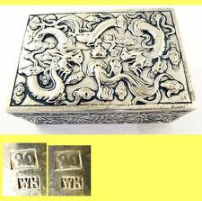 Antique Chinese Export Silver Box Humidor Wang Hing Dragons Bamboo (5572)