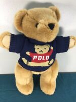 VTG Ralph Lauren Polo Bear Sweater Teddy Plush Stuffed Animal 90s Flag USA Sport