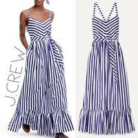NWT J. Crew Women's 10 Navy White Striped Poplin Sweetheart Maxi Sun Dress