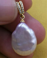 Elegant Natural HUGE 15-19MM purple PEARL teardrop PENDANT REAL violet party