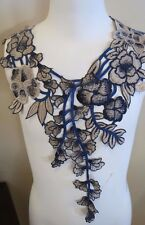 """Navy Blue Beige Embroidered Neck Applique 13"""" by 16"""" (1-20)"""