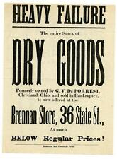 1870s Broadside Cleveland Ohio Dry Goods Sale HEAVY FAILURE Brennan Store