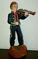 "Vtg Henning Hand Carved Fiddle Player Hardanger Wooden Figure, Norwegian  6 3/4"""