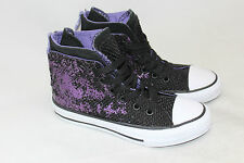 Girls Converse All Star Chuck Taylor Purple Hi Top Hollyhock Sneakers Zip 12US