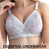 NEW WHITE LACE NON WIRED LIGHTLY PADDED CROSS YOUR HEART STYLE BRA,32-44 A B C D