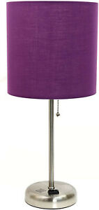 Limelights Brushed Steel Lamp with Charging Outlet and Fabric Shade, Purple