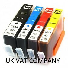NOW INK 4 x CHIPPED INK CARTRIDGES FOR HP 364 hp364 XL 5515 B109a B110a B209a