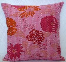 40cm PINK COTTON CUSHION COVER KANTHA Embroidery Throw Pillow Ethnic Home Decor