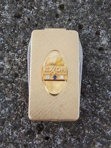 EXXON OIL Vtg Service Award Money Clip Knife 12K Gold Fill w/ Diamond + Sapphire