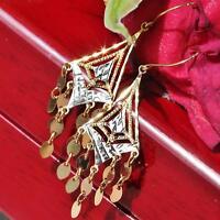 """10k multi tone gold 1.75"""" chandelier dangle earrings diamond cut vintage 1.3gr"""