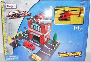 Maisto Fresh Metal Build N Play Fire Station Playsets + 5 Pack of Cars RARE