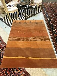 Auth: Contemporary Tibetan ART Rug  Hand Made Wool Beauty  Abstract 4x6 no res