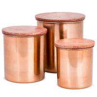 Copper Canister Set With Wood Lids - 3 pcs Airtight Copper Storage Jar Set