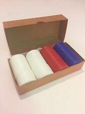 Vintage Poker Chips, Red, Blue & White, Original Box