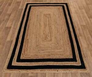 beige color with black border rug Jute area rug for large space room vintage Rug