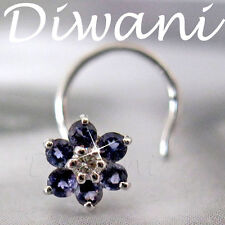 Real Iolite & Diamond Flower 14kGold Wedding Nose Pin Piercing Jewelry Ring Stud