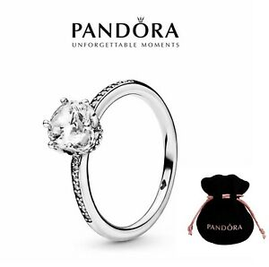 New Genuine Pandora Clear Sparkling Crown Solitaire Ring S925 ALL SIZES 198289CZ