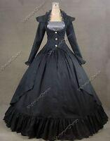 Victorian Edwardian Black Steampunk Coat Dress Reenactment Theater Costume N 167
