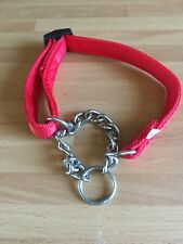 SMALL RED FABRIC PART CHAIN DOG COLLAR - RED - SMALL - ADJUSTABLE - NEW