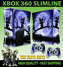 XBOX 360 SLIM STICKER MOONLIGHT GOTHIC FAIRY SILHOUETTE WINGS SKIN & 2 PAD SKINS
