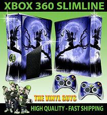 XBOX 360 SLIM STICKER MOONLIGHT GOTHIC FAIRY SILHOUETTE WINGS SKIN & 2 PAD SKINS
