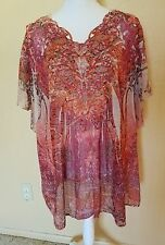 CATO SIZE PLUS 26W  RED PINK LACE FLORAL SHEER TUNIC