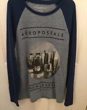 Aeropostale Men's Waffle Knit Long Sleeve Pullover Shirt Size Xl Blue Nyc