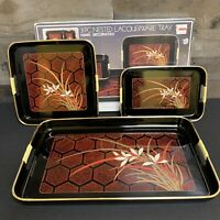 Vintage LACQUER WARE, Nesting Trays Japan Black Red Gold  Flowers 3 pc Set