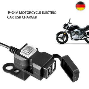 DHL 12V Motorrad Lenker Dual USB Buchse Steckdose Ladegerät Schalter Wasserdicht