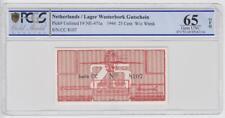 Niederlande Lager Westerbork 25 Cent Gutschein 1944 Grading 65 unzirkuliert 8107