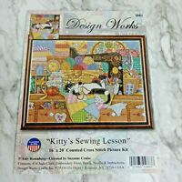 """Kitty's Sewing Lesson Counted Cross Stitch Instruction & Pattern Only 16"""" x 20"""""""