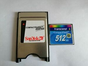 CompactFlash transcend 512MB CF with Compact Flash Card adapter PC PCMCIA Card