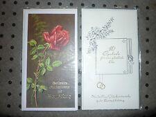 2 Glückwunschkarten zur Vermählung Hochzeit ca. 50/60er Jahre Rose