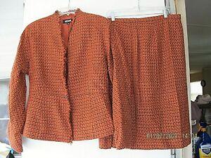 2pc Kasper Skirt Set NWT Rust & Black Tweed Fringed Skirted Blazer sz 12 Lined