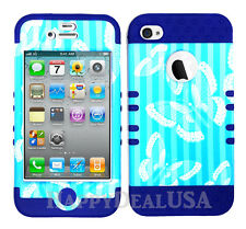 KoolKase Hybrid Silicone Cover Case for Apple iPhone 4 4S Butterfly Stripe Blue