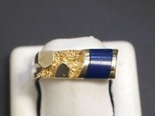 14 K Yellow Gold Ring with Blue Gemstone Size 7.75