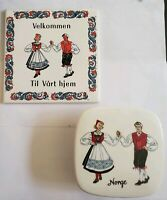 NORWEGIAN TRIVET tile Norway and dish with lid